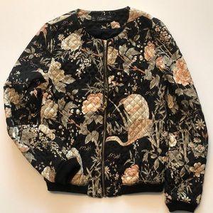 Zara Trafaluc Floral Kimono Bomber Jacket Sz Small